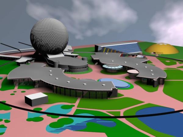 EPCOT Center 3D Render Model - Communicore and Spaceship Earth - 102801b