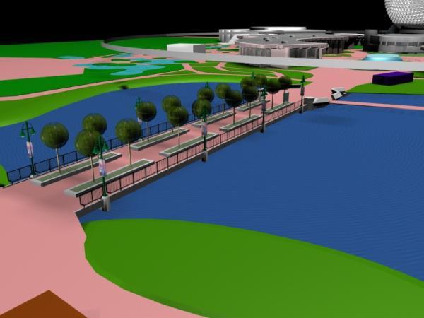 EPCOT Center 3D Render Model - Bridge to World Showcase - 122401