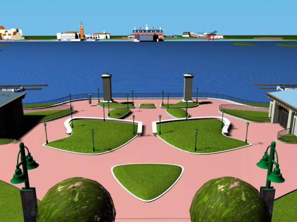 EPCOT Center 3D Render Model - Looking out to World Showcase Lagoon 1802