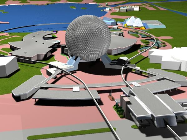 EPCOT Center 3D Render Model - Entrance and Monorail Station - 40202