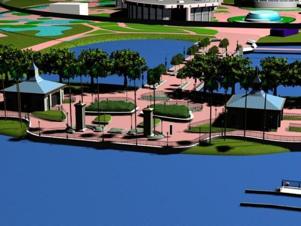 EPCOT Center 3D Render Model - Entrance to World Showcase 11302a