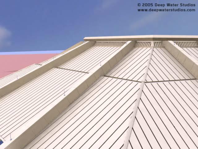 EPCOT Center Horizons pavilion 3D render - top of building detail 9-8-05a
