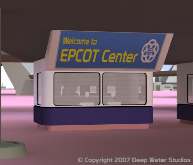 EPCOT Center entrance booth with basic materials applied