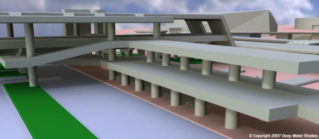 EPCOT Center Monorail Station test render 04