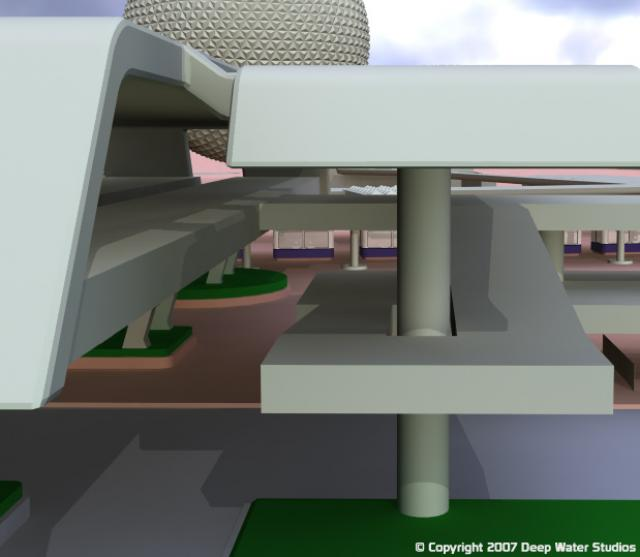 EPCOT Center Monorail Station test render 07