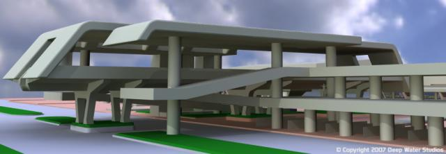 EPCOT Center Monorail Station test render 10