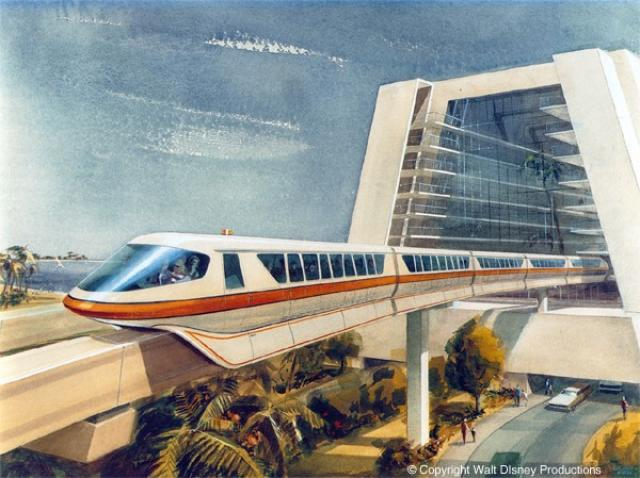 George McGinnis's Painting of the Walt Disney World Mark IV Monorail Exiting the Contemporary Hotel