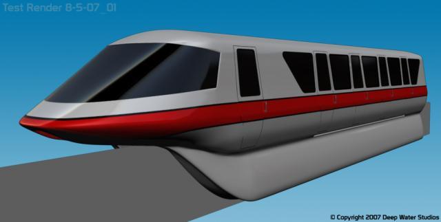 Walt Disney World Mark IV monorail red test render 8-5-07