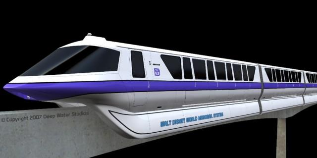 Walt Disney World Mark IV Monorail Purple 3d model render